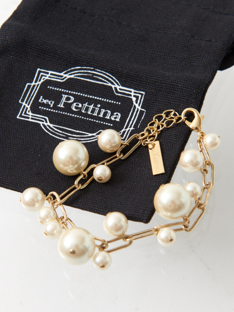 ★beq Pettina/パールチェーンブレス