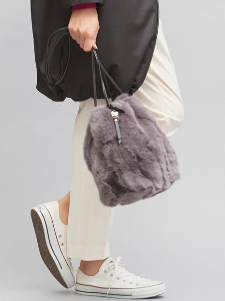 人気のグレー追加生産決定!レッキスファー巾着バッグ