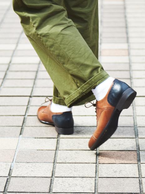 【2WAY】踏み履きブローグストレートチップシューズ