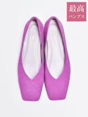 【最高パンプス/1cmヒール】美脚×快適 スクエアトゥフラットパンプス