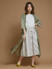 collex - 綿麻ストライプ切替スカート