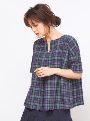 collex - コットンリネンチェックシャツ