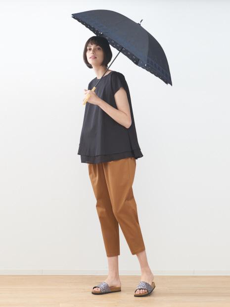 【晴雨兼用】UVカット スカラップ長傘