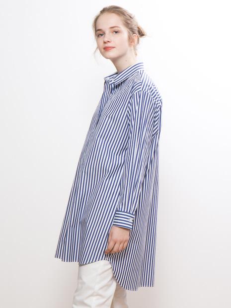 ストライプ/デニムチュニックシャツ