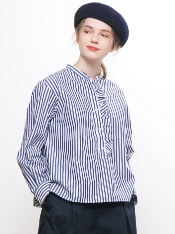ストライプ/デニムフリルシャツ