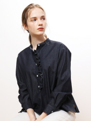 collex - ストライプ/デニムフリルシャツ