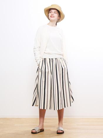ストライプギンガムギャザースカート