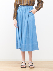 collex - シャンブレーロングスカート