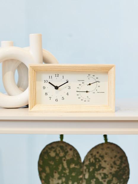 【Lemnos FRAME/レムノスフレーム】 温湿度計時計
