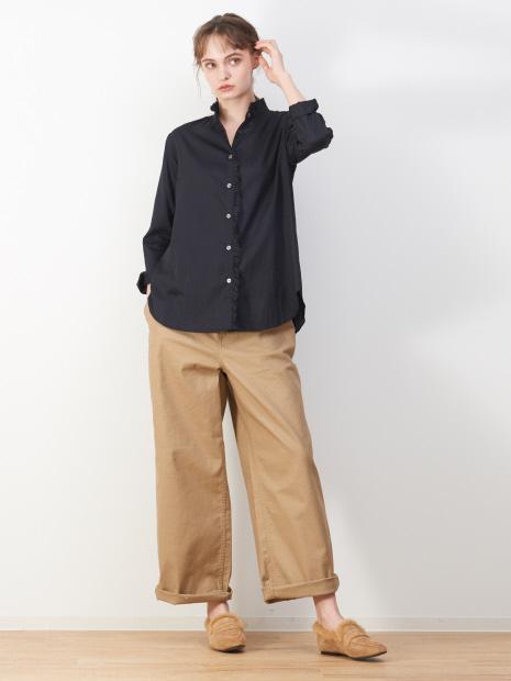 綿サテンフリルシャツ