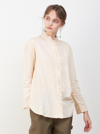 collex - 綿サテンフリルシャツ