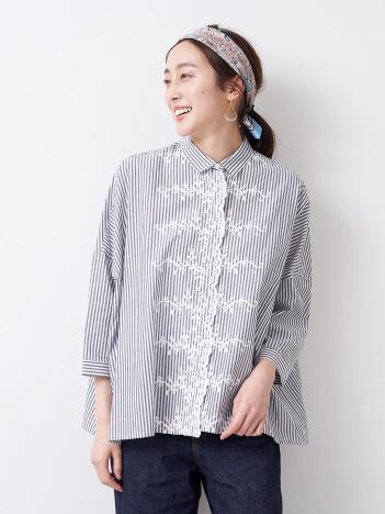 collex - 【STAMP AND DIARY】 刺繍 ビックブラウス7分袖