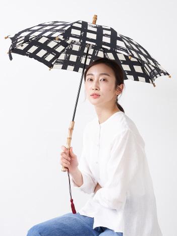 【傳 tutaee(ツタエ)】キツネノタスキ 黒枡 長日傘