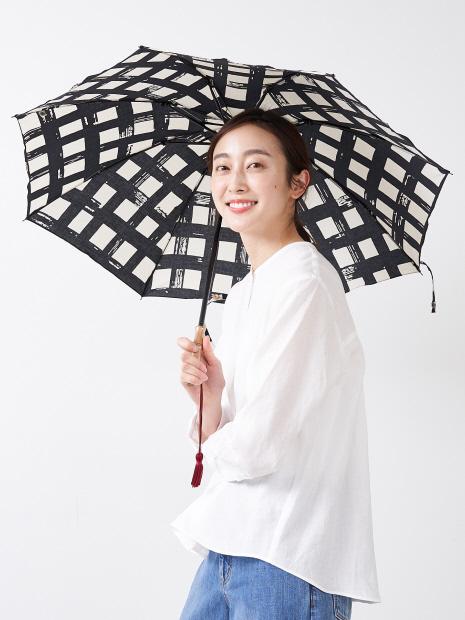 【傳 tutaee(ツタエ)】ウサギノタスキ 黒枡 折り畳み傘