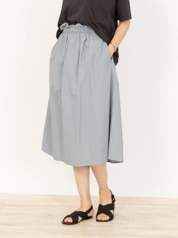 【前後2WAY】ナイロンコットンミディアムギャザースカート