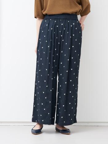 collex - 小花刺繍ワイドパンツ