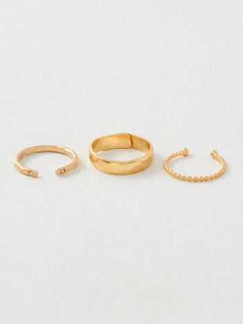 【Pisceans/ピッシェアンス】Grainy design 3set Ring