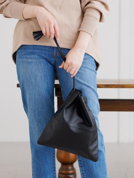 【THE CASE×collex】 別注 ワンハンドル レザー 巾着バッグ