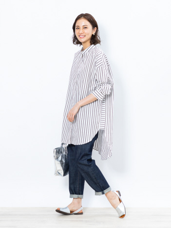 collex - 【WEB限定】コットンストライプロングシャツ