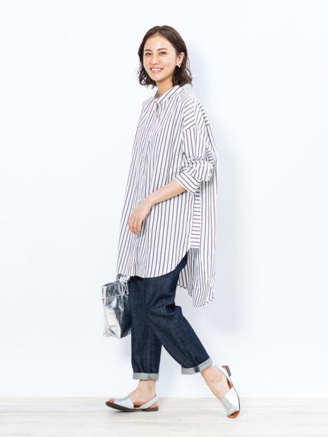 【WEB限定】コットンストライプロングシャツ