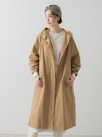 collex - バックギャザーフード付きロングコート