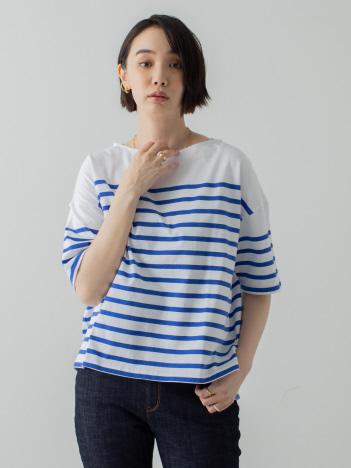 パネルバスクボーダーTシャツ