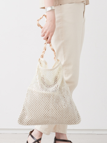 【WEB限定】【Ampersand】mesh&linen one shoulder bag