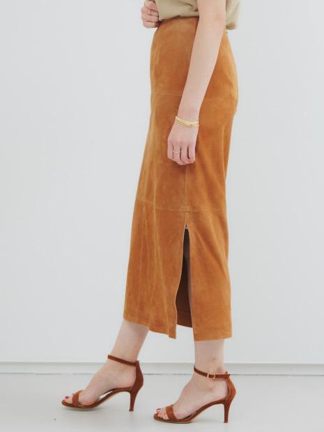 【COCUCA】スエードストレッチタイトスカート
