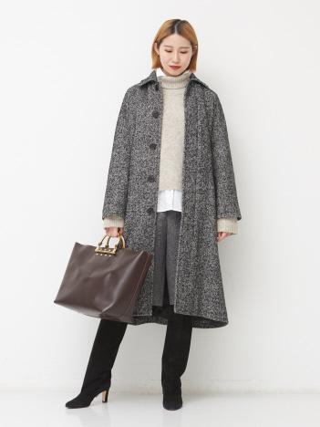 【Couture d'adam】ネップヘリンボーンバルカラーコート