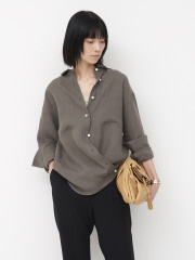 【COCUCA】リネンカシュクールシャツ