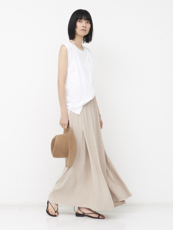 【COCUCA】バックサテンマキシスカート