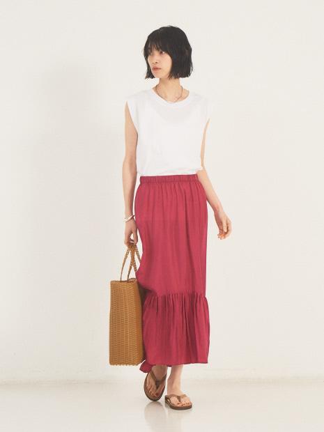【COCUCA】シルクサテンギャザースカート【予約】