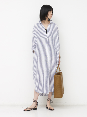 【COCUCA】リネンシャツドレス