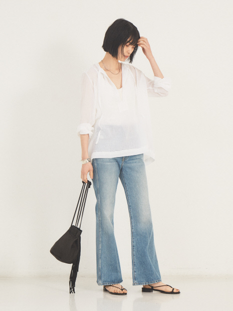 【SUNDAY atelier】TIE NECK BLOUSE