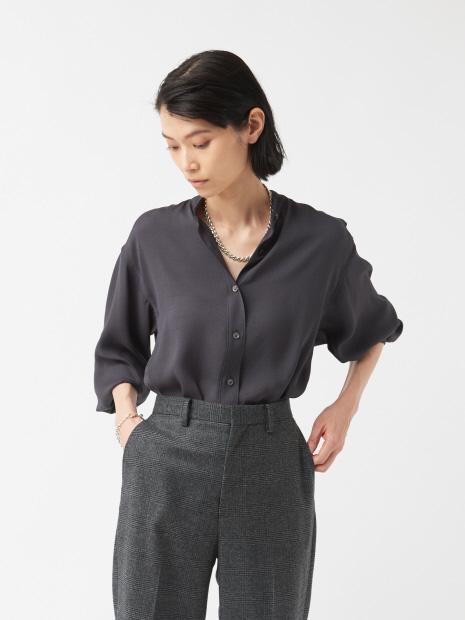 【COCUCA】エコポリエステル バンドカラーシャツ