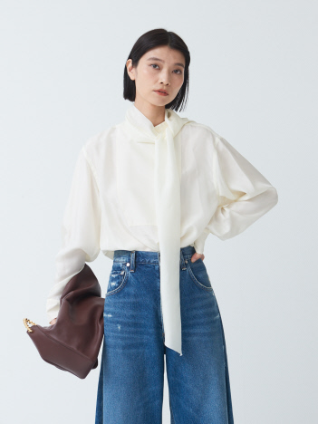 THE STORE by C' - 【YLEVE】Silk bow blouse  / ボウ付き シルクブラウス