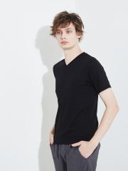 【展開店舗限定】杢スラブ半袖VネックTシャツ(BLK)