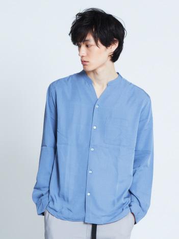 【展開店舗限定】フィブリル開襟バンドカラー長袖シャツ