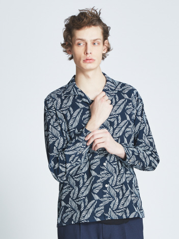 ABAHOUSE - 【展開店舗限定】リーフ柄オープンカラーシャツ