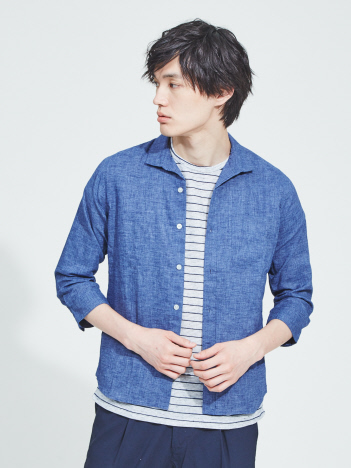 ABAHOUSE - 【展開店舗限定】リネンイタリアンカラー7分袖シャツ