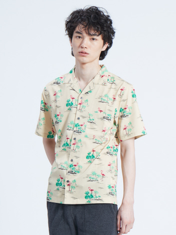 ABAHOUSE GRAY - 【展開店舗限定】フラミンゴ柄 オープンカラー 半袖シャツ