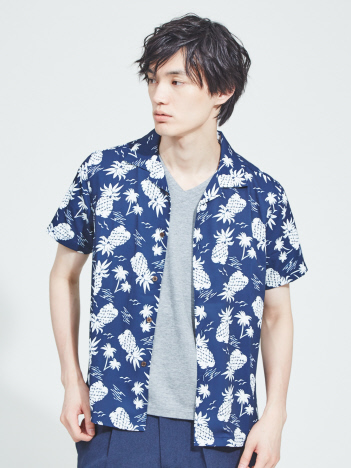 ABAHOUSE - 【展開店舗限定】パイナップル柄オープンカラー半袖シャツ