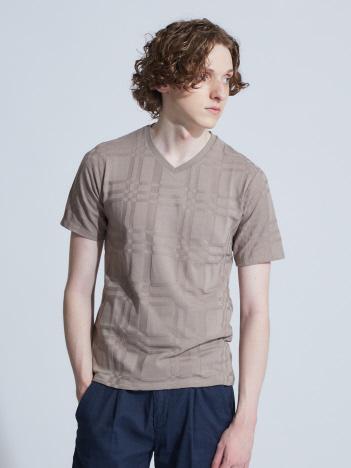 【展開店舗限定】チェック柄 ジャガード 半袖Tシャツ