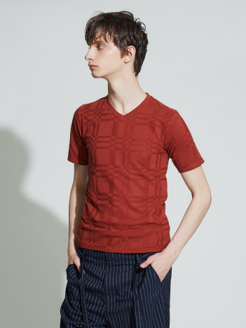 ABAHOUSE GRAY - 【展開店舗限定】チェック柄 ジャガード 半袖Tシャツ
