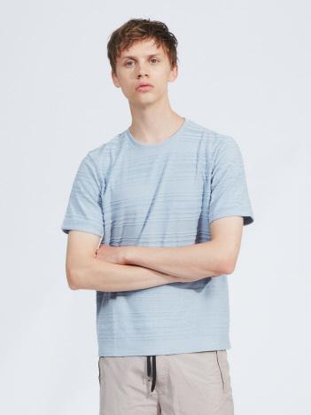 【展開店舗限定】カラーパイルパネルボーダーTシャツ