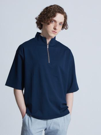 【展開店舗限定】スラブポンチハーフZIP5分袖Tシャツ