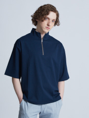 ABAHOUSE - 【展開店舗限定】スラブポンチハーフZIP5分袖Tシャツ