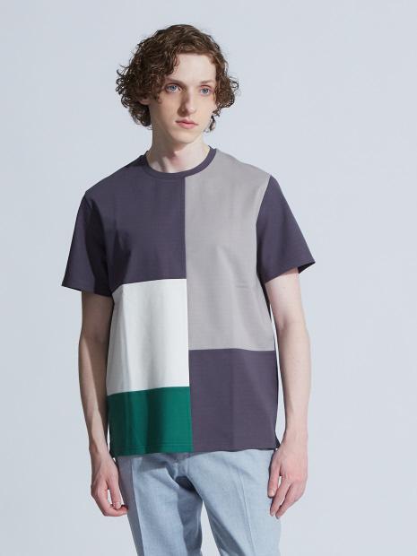 【展開店舗限定】スラブポンチ配色切替半袖Tシャツ