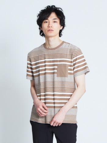 【展開店舗限定】ランダムワッフルボーダー半袖Tシャツ