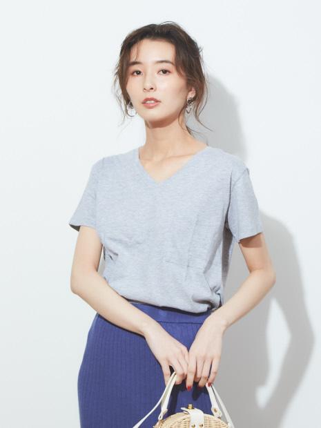 ecru 【汗染み防止】ポケット付きTシャツ